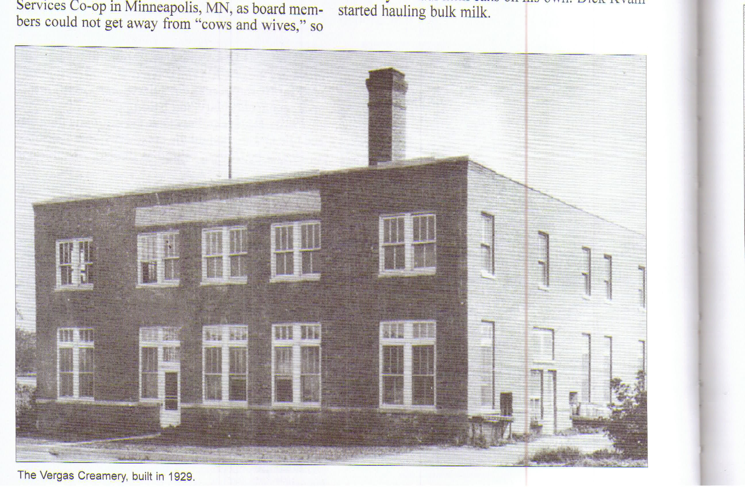 Historic photo of the Vergas Creamery building, now the Vergas Municipal building
