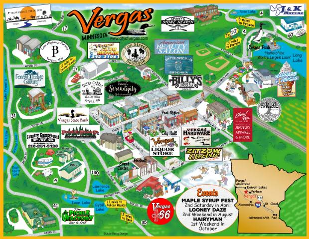 EDA Map of Vergas including area businesses. (c) Julie Rettig Design